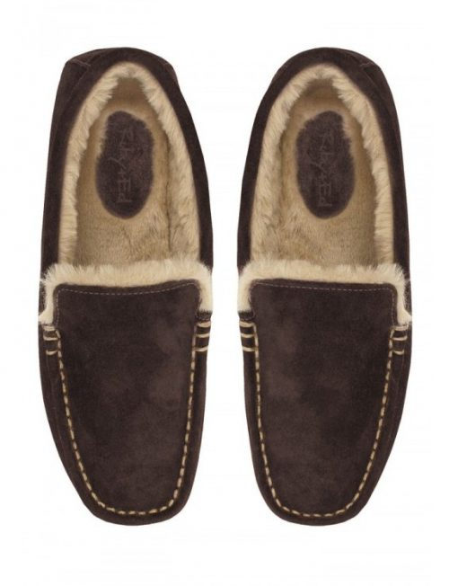 RUBY AND ED CHOCOLATE MOCCASIN MEN'S SLIPPERS