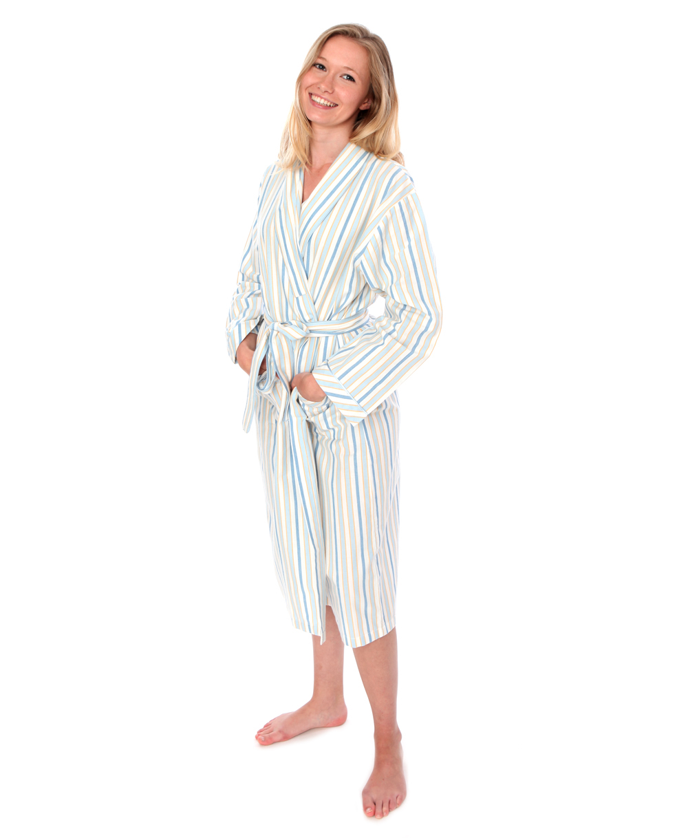 Blue Sky Striped Dressing Gown - The Pyjama Store