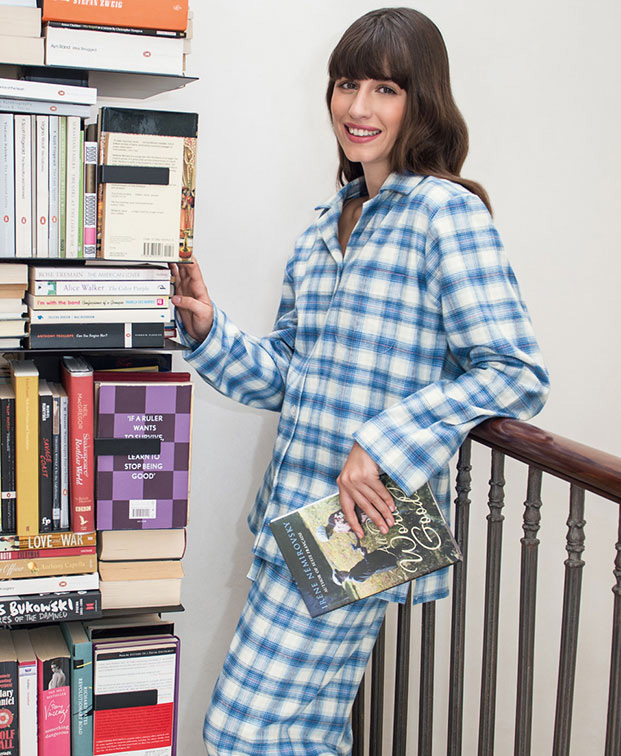 Woman dressed in brushed cotton pyjama