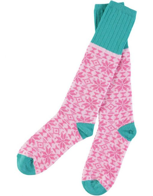 Lambswool Bright Pink Fair Isle Knee Sock