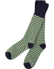 men's lambswool green stripe knee high socks