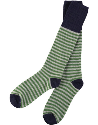 Lambswool Grey & Green Stripy Knee Socks (Men)