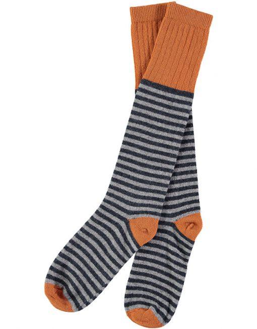 Lambswool Navy & Grey Stripy Knee Socks