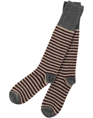 Lambswool Mushroom & Dark Red Stripy Knee Socks (Men)