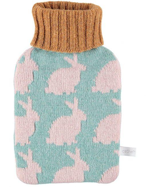 Lambswool Pink Rabbits Mini Hot Water Bottle Set