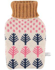 Lambswool Snow & Trees Mini Hot Water Bottle Set