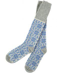 Lambswool Blue Fair Isle Knee Socks