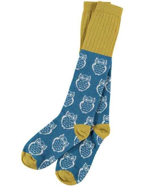 Lambswool Petrol Blue Owl Knee Socks