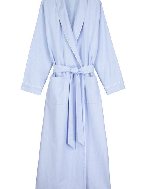 Brushed Cotton Dressing Gown Blue