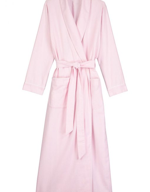 Brushed Cotton Dressing Gown Pink