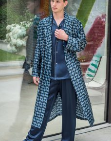 Man wearing a Mens Silk Dressing Gown Wooster