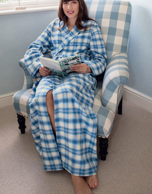 Woman wearing a Tartan Brushed Cotton Dressing Gown Cara