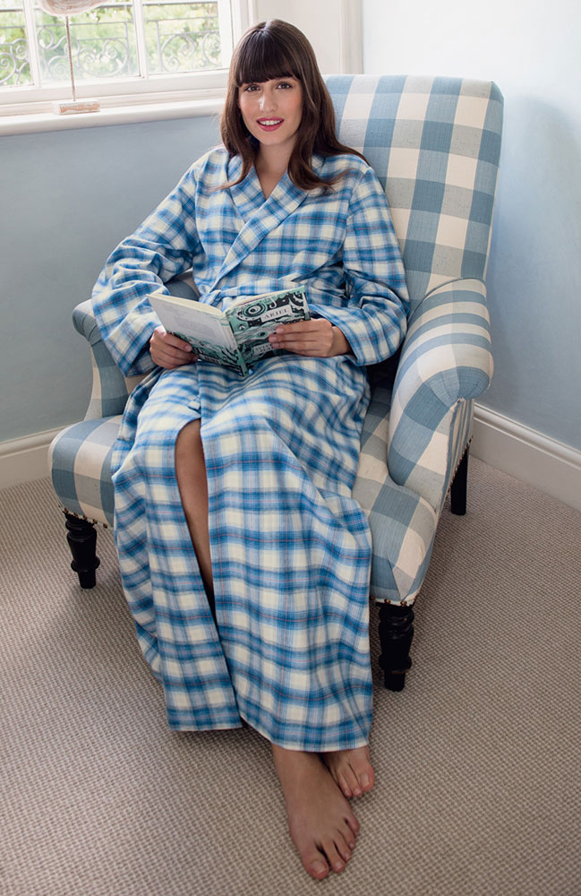 Tartan Brushed Cotton Dressing Gown Cara - The Pyjama Store
