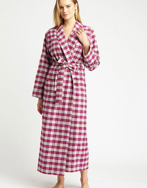 Tartan Brushed Cotton Dressing Gown Melbury Fuchsia - The Pyjama Store
