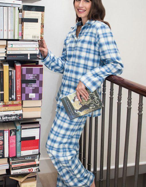 Woman wearing Tartan Brushed Cotton Pyjamas Cara