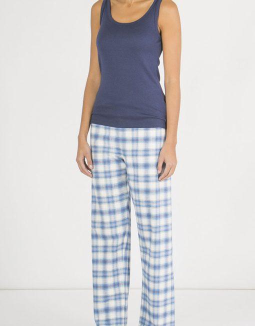 Woman wearing Tartan Brushed Cotton Pyjama Trousers