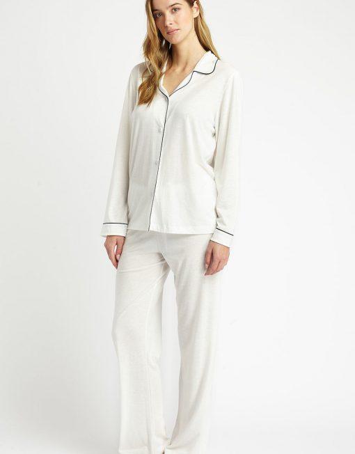 Front facing image of a woman wearing a Comfortable cream jersey pyjamas