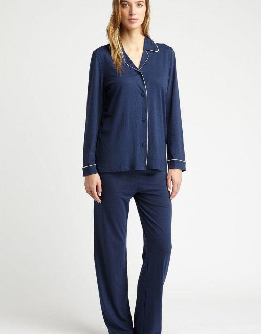 Woman wearing a Comfortable Navy Jersey Pyjamas