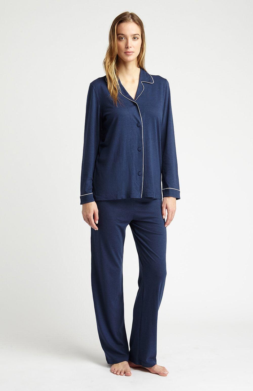 d9ff68e42927 Midnight Navy Blue Jersey Pyjamas - The Pyjama Store