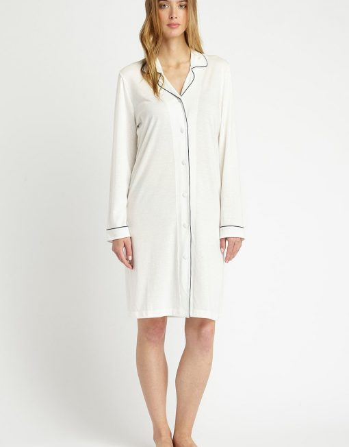 Front facing image of a woman wearing a Cream Easy Fitting Nightshirt
