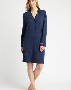 Front facing image of a woman wearing a Navy Easy Fitting Nightshirt