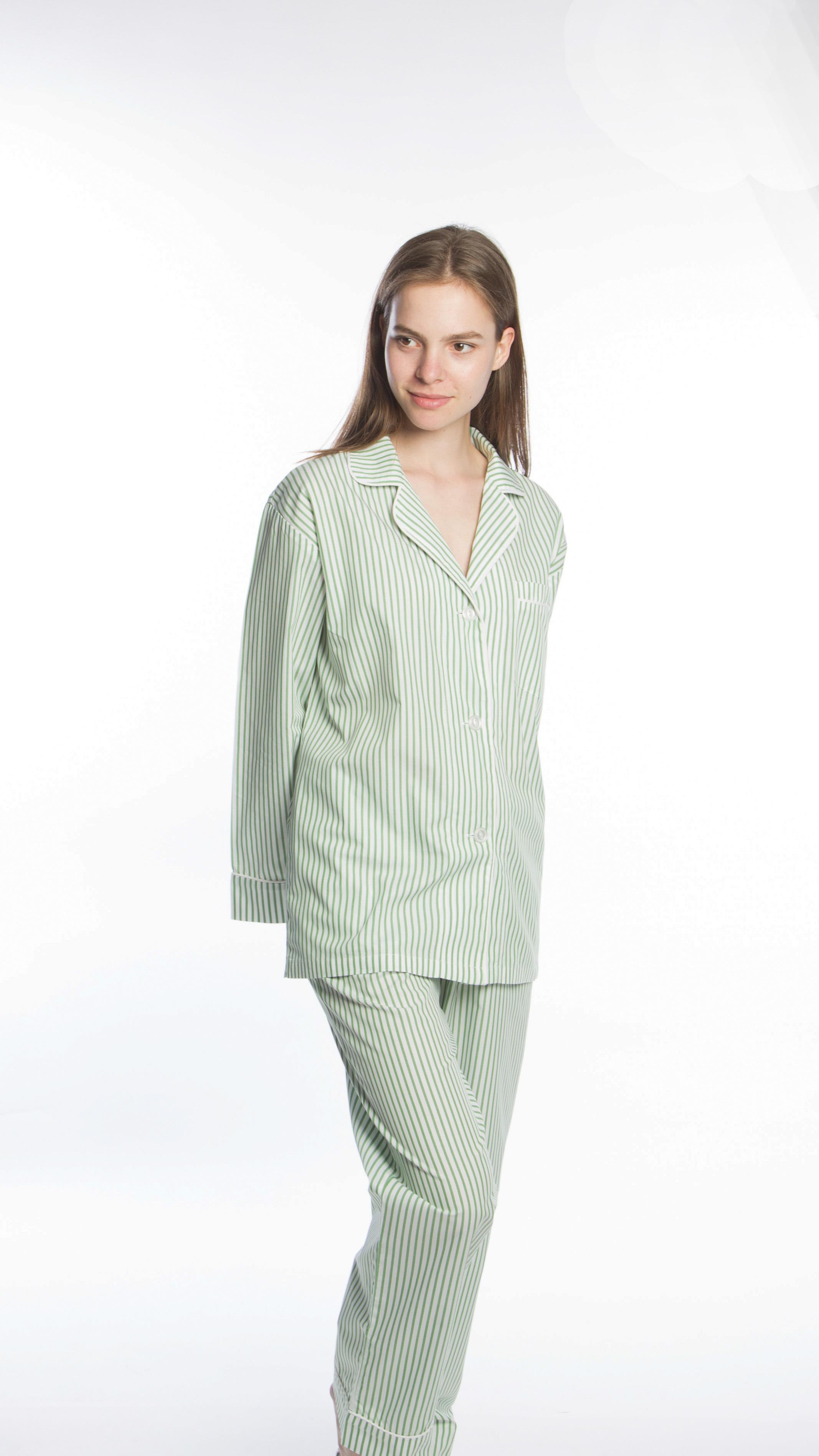 Green Stripe Classic Notch Collar PJ Set - The Pyjama Store bb17ede7097f8